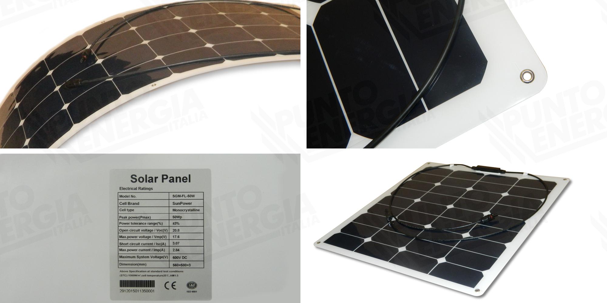 panneau solaire photovoltaique 50w 12v mono flexible camping car caravan bateau ebay. Black Bedroom Furniture Sets. Home Design Ideas